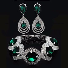 Luxury Jewelry  suit Girls Bridal  Rhinestone green Austrian  Jewelry Set Bracelet Earrings