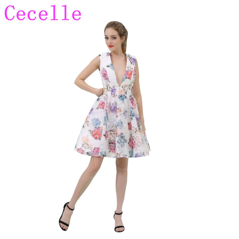 Short Floral Print Colorful   Cocktail     Dresses   2019 V Neck Semi Formal Fashion Teens   Cocktail   Party   Dress   Knee Length A-line