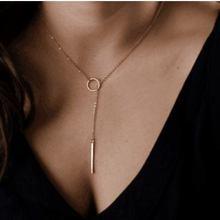 Jisensp, новинка, модное ювелирное изделие, круглый, с баром, длинное ожерелье для женщин, вечерние, подарки, шикарное y-образное минималистское ожерелье, ожерелье N021