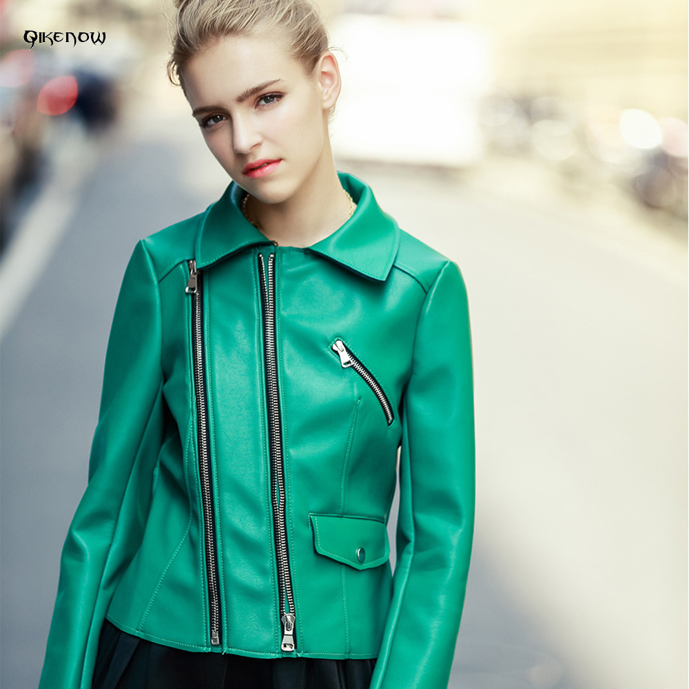 Qikenow 2017 Women's Leather Jacket Autumn Green PU Leather Locomotive Deri Ceket Lapel Short Coat Zippers Chaquetas Cuero Mujer