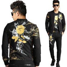 Retro Gilded Rose Floral Printed 3 Piece Sweat Set Tracksuit Men Hoodies Casual Slim Fit Jacket + Tshirt Joggers Pants