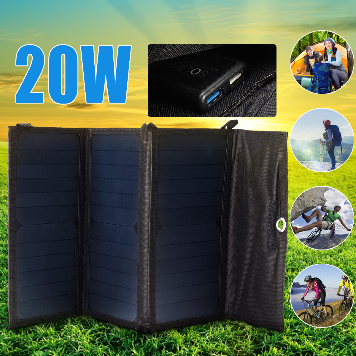 Foldable 20W Solar Charger Folding USB 5v Battery Charger Portable Waterproof Solar Panel External Battery For Outdoor Camping 1x 30000mah dual usb solar panel power bank external battery charger for dc 5v outdoor protable emergency battery