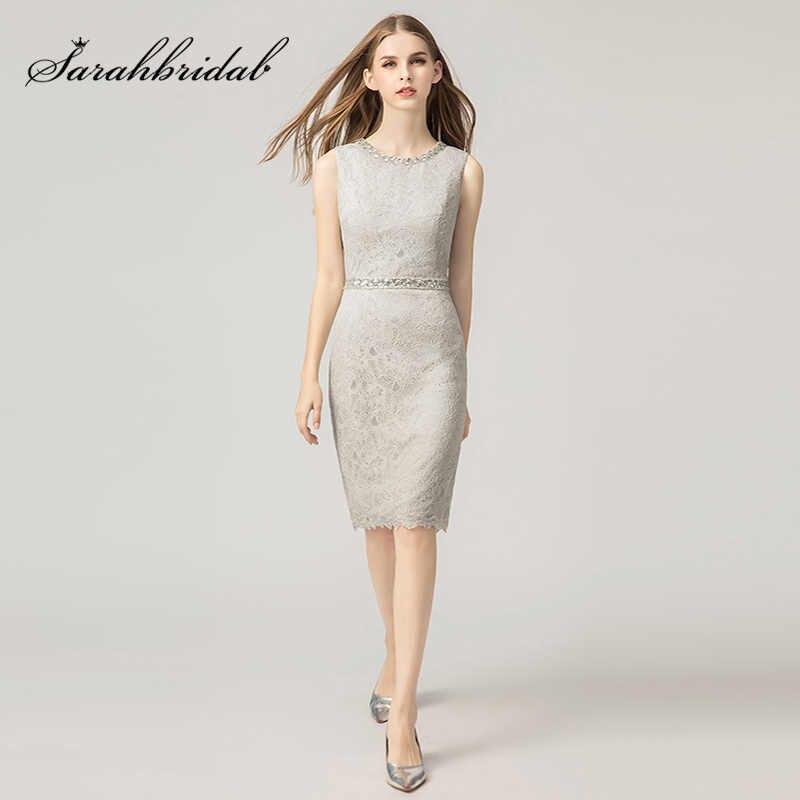 0e7408046b6 Элегантные женские Короткие Серые Вечерние платья Винтажное с отделкой  бусинами прямое свадебное платье с кружевами Бальные