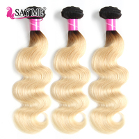 1B 613 Peruvian Body Wave Human Hair Bundle 1/3/4 Pcs Lot Ombre Blonde Color Hair Weave Remy 10 18 Inch Free Shipping