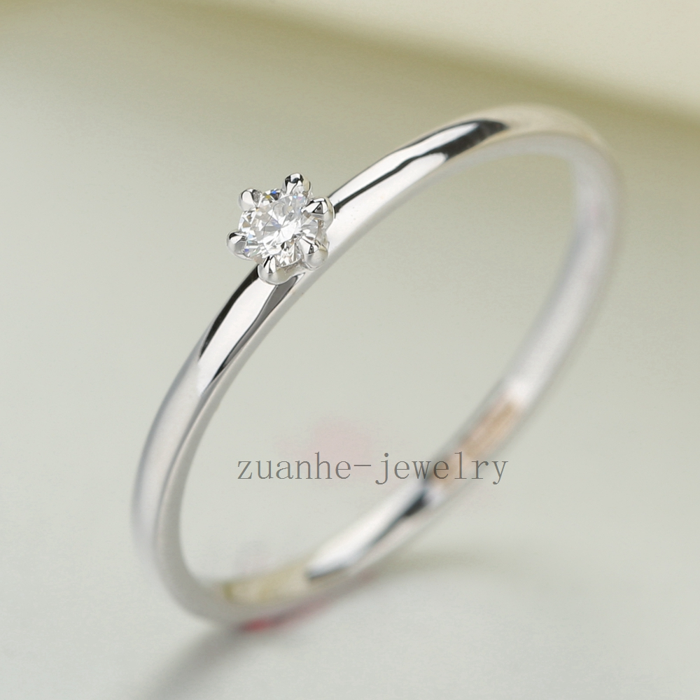Solid 10k White Gold VS/H Full Cut Natural Diamonds Wedding Ring Women Engagement Party Jewelry