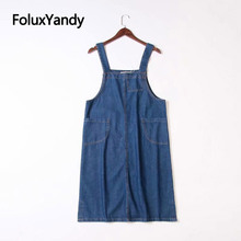 Denim Jeans Dress Women Casual Sleeveless Spaghetti Strap A-line Overalls Blue Vestidos KKFY3154