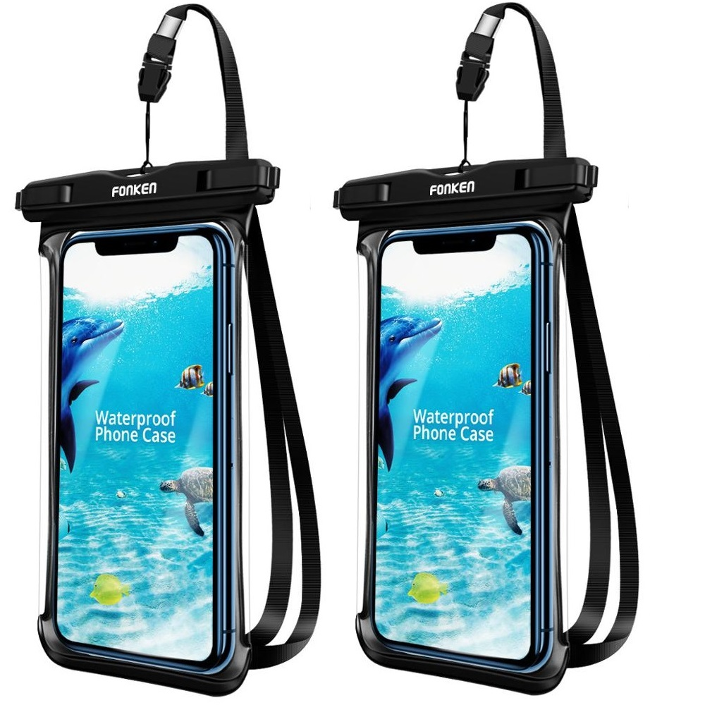 2Pcs FONKEN Waterproof Case For Phone Full Transparent View Dry Storage Bags IPX8 Swimming Diving Hiking Universal Travel Pouch
