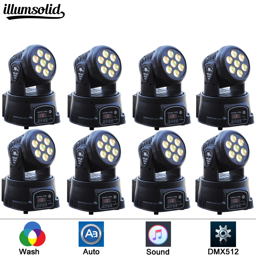 8pcs 7x12w Led RGBW 4in1 Wash Light DMX512 Moving Head Light Professional DJ Bar Party Show Stage Light LED Stage light 54x3w led rgbw monochromatic par light dmx512 professional dj bar party show stage light led stage machine