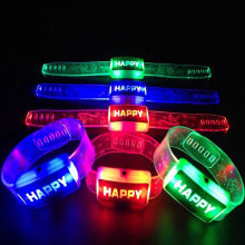 Electric Light Up Luminous Flashing Happy Bracelet Festival Children LED Watch for Halloween, Christmas, New Year Etc.(China)