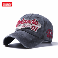 Unikevow Washed Baseball Cap Men Letter Patch Cotton Snapback Hat Caps Vintage Women Adjustable Autumn Snapback