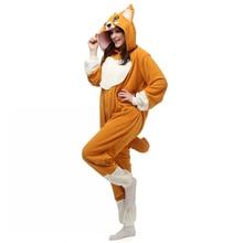 Polar Fleece Adult Corgi dog Onesies Sleepwear Cartoon Animal Cosplay Pajamas Pyjamas Halloween Party Costume for Women Men