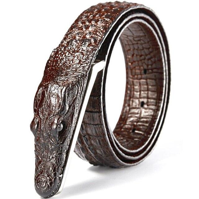 Cinto de couro masculino, cinto de couro genuíno com estampa de crocodilo, casual, presente para homens