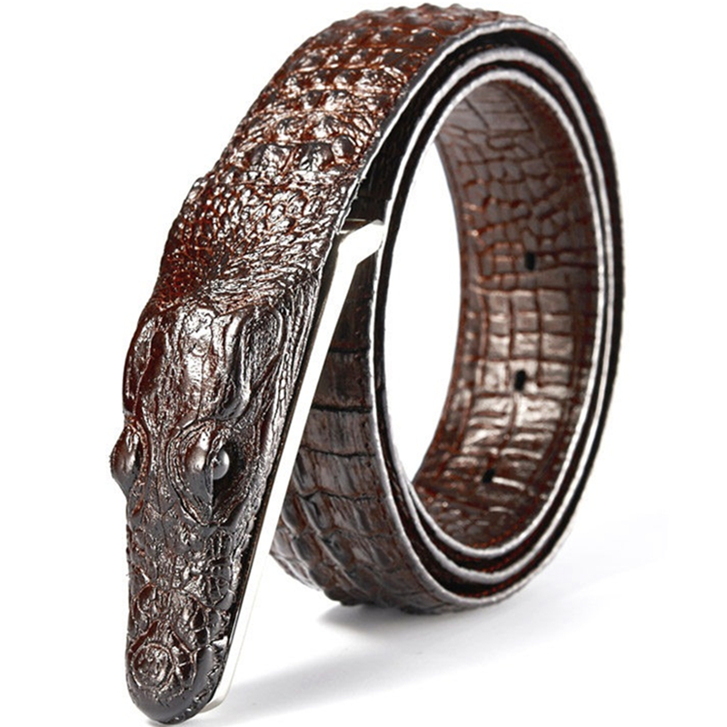 Fashion Men's Belt Crocodile Pattern Genuine Leather Belt Business Casual Simulation Crocodile Belt Alligator Head Gift For Men