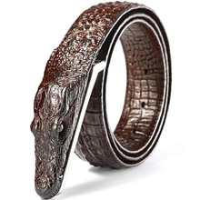 Fashion mens belt Crocodile pattern Genuine leather belt Business casual simulation crocodile belt alligator head gift for men