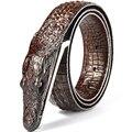 Moda hombre correa de Cocodrilo patrón de cuero Genuino cinturón casual de Negocios cinturón de cocodrilo cocodrilo simulación cabeza de regalo para los hombres