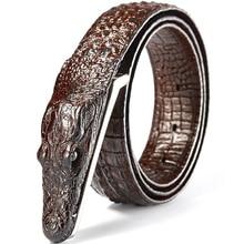 Uomini di modo della cinghia Del modello Del Coccodrillo del cuoio Genuino di Affari della cinghia casuale di simulazione cintura di coccodrillo alligatore testa regalo per gli uomini