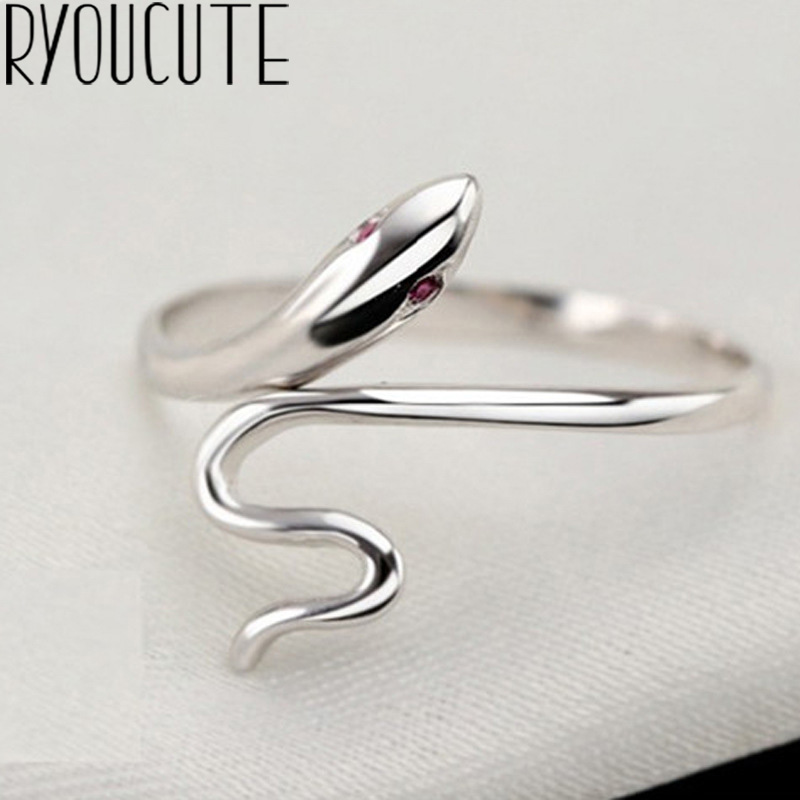 Bohemian Real 925 Sterling Silver Snake Rings Gifts For Women Wedding Ladies Fashion Adjustable Antique Rings Joyas De Plata