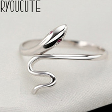 Bohemian Real 925 Sterling Silver Snake Rings Gifts for Women Wedding