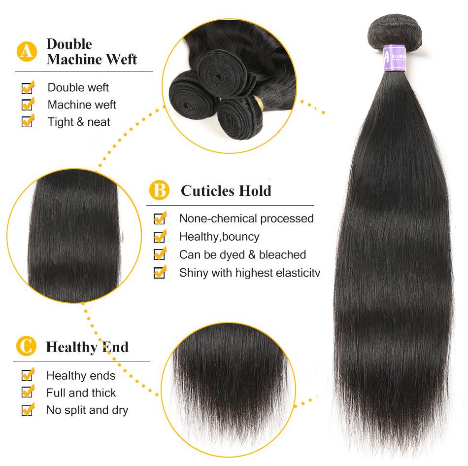Alimice Hair Indian Straight Hair 8-26 inch Non-Remy Hair Extensions - Menneskehår (sort) - Foto 2