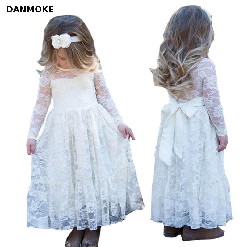 Girl Lace Long Dress With Sweet Flower For Age 2-12 Baby Kids Princess Wedding Prom Party White Big Bow Long Sleeved Dress kids lace princess girl communion dress baby long sleeved bridesmaid wedding party birthday elegant white big bow girls dress