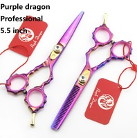 Purple dragon 5.5 in profissional hair scissors hairdressing barber cutting scissors thinning tijeras peluquero tesouras ciseaux