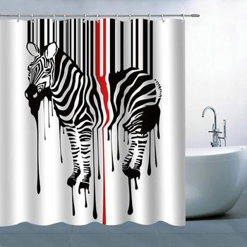 Chinese Style Ink and Wash Eagles and Zebras Fabric Shower Curtains and Mat Set Bathroom Curtain Animal Polyester Bath Curtain zwbra shower curtain