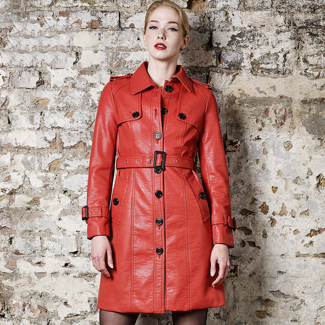 Fashion single breasted turn down collar medium-long PU leather trench coat women slim waist faux leather jacket with belt 3