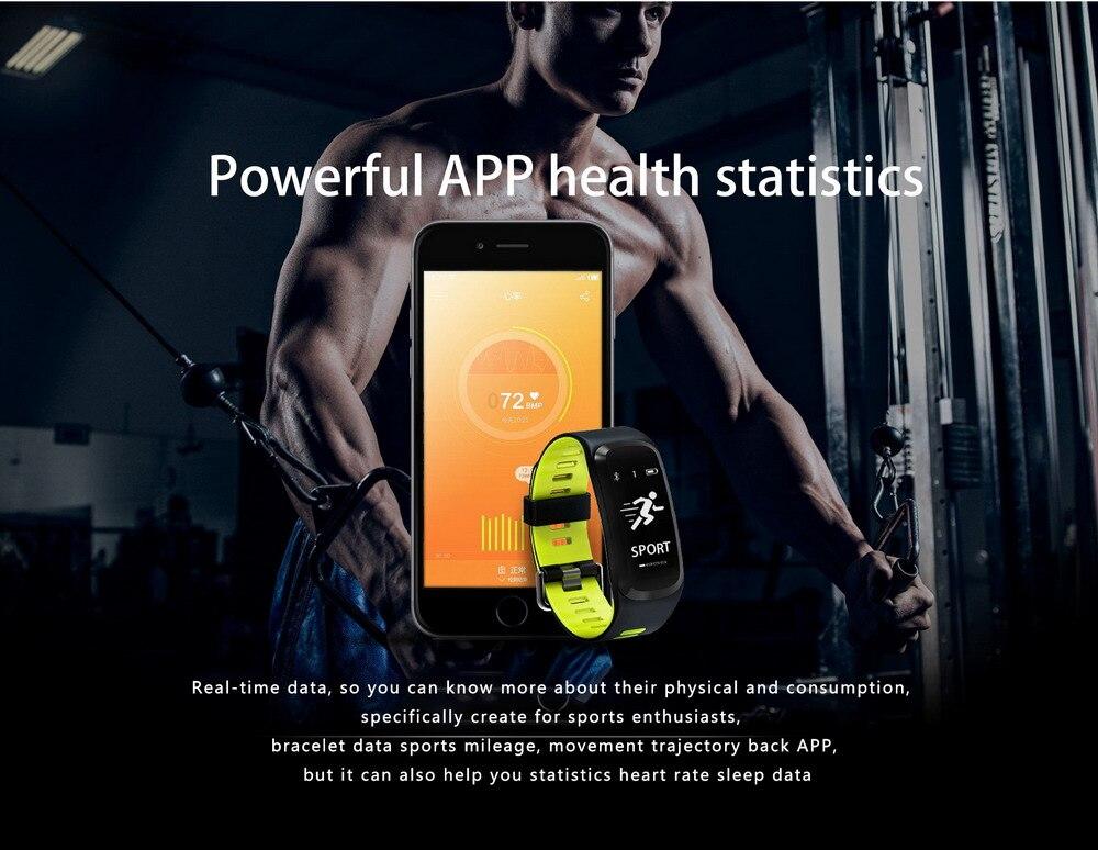 F7 pulsera reloj inteligente presión sangre oxígeno Monitor de ritmo cardíaco rastreador de ejercicios inteligente pulsera para IOS Android Mi banda 2 - 5