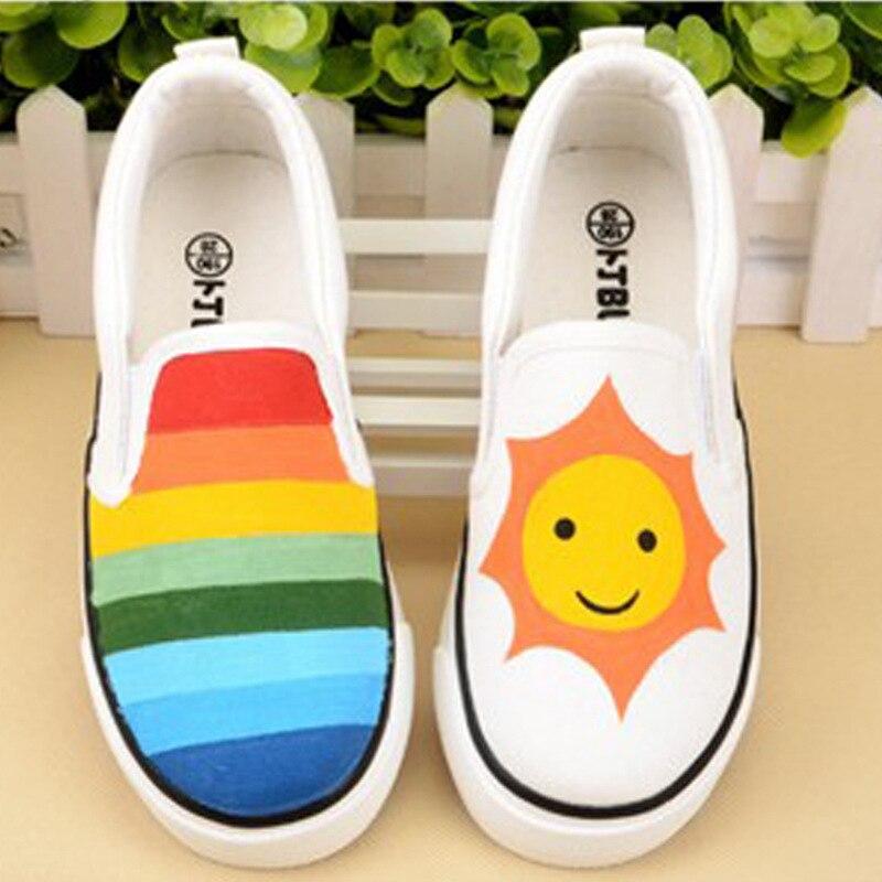 AMYMM chaussures enfants couleur enfants peint à la main dessin animé chaussures garçons et filles pied loisirs chaussures taille européenne 35-44 Yxx