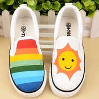 AMYMM Children's Shoes Children's Color Hand painted Cartoon Shoes Boys and Girls Foot Leisure Shoes European Size 35 44 Yxx