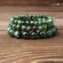 Linxiang 4/6/8/10/12mm natural stone Red green treasure bracelet is suitable for men and women to wear lucky jewelry