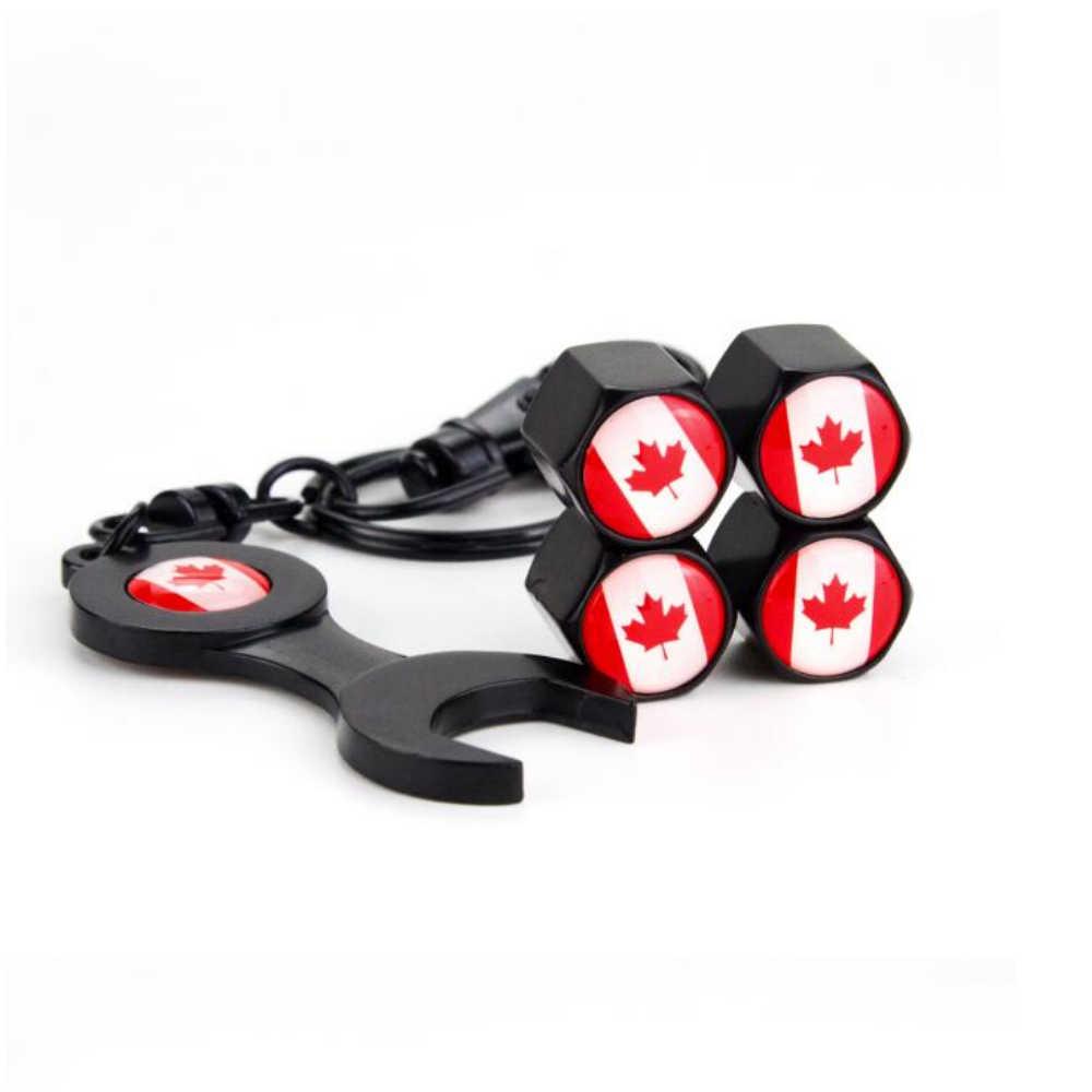 4 יחידות קנדה דגל לוגו גלגל Valve Caps 1 pc ברגים רכב קישוט עבור טויוטה Proda קורולה 2014 Auris קאמרי verso Hilux טונדרה