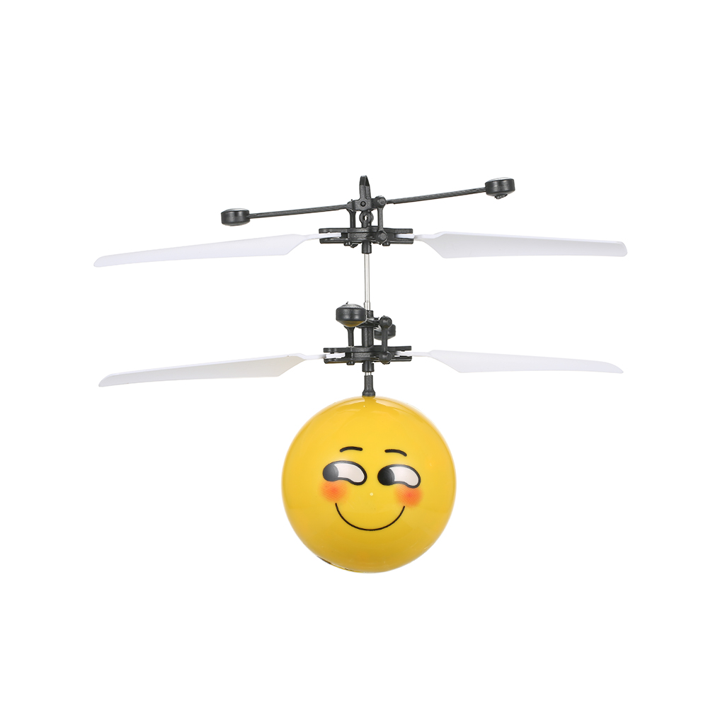 Electric Copter Infrared Helicopter Induction Flying Ball Cool Face Expression Colorful Lighting Flashed Children Flying Toy