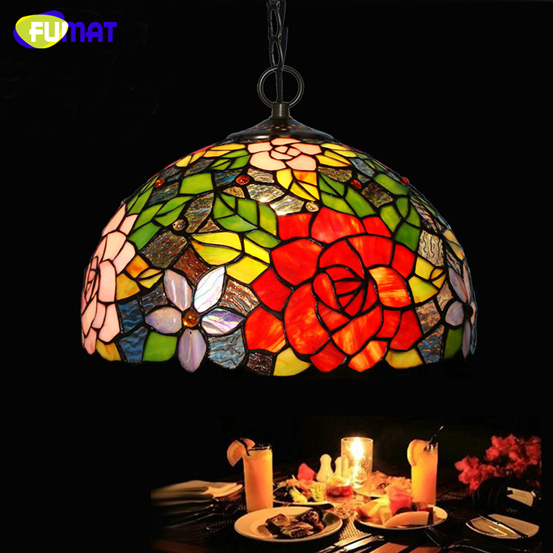 FUMAT Stained Glass Pendant Lamp Rose Shade Light For Living Room Dining Creative Deco LED Lights