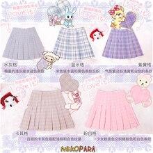 Милая плиссированная юбка в клетку с завышенной талией в японском стиле для девочек; Милая Короткая мини-юбка в стиле Лолиты; Цвет Розовый и хаки