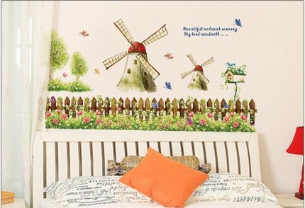2013 new removable room decor 3d windmill flowers room decorative living room kitchen decor wall stickers - Room Decor 3d