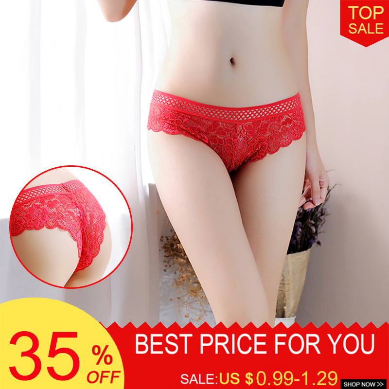 Plus Size Sexy Women   Panties   Low-Rise Seamless Lace With Floral Women's Underwear Underpantes Sexy Women Lingerie Thongs Briefs