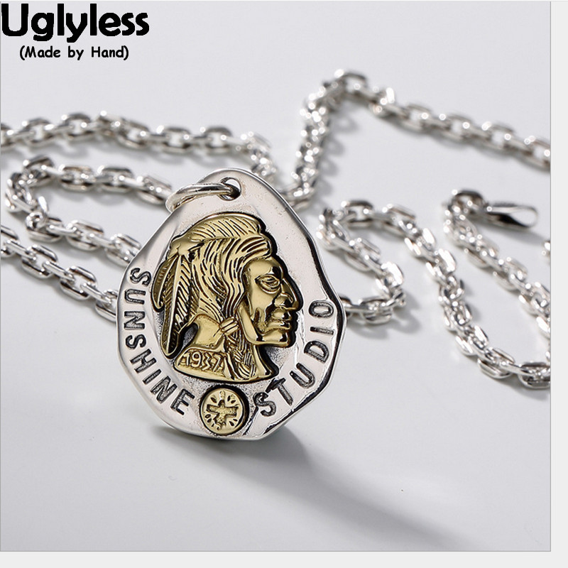 Uglyless 100% Real 925 Sterling Silver Indian Chief Pendant Necklaces no Chain Handmade Feathers Pendant Exotic Fine Jewelry