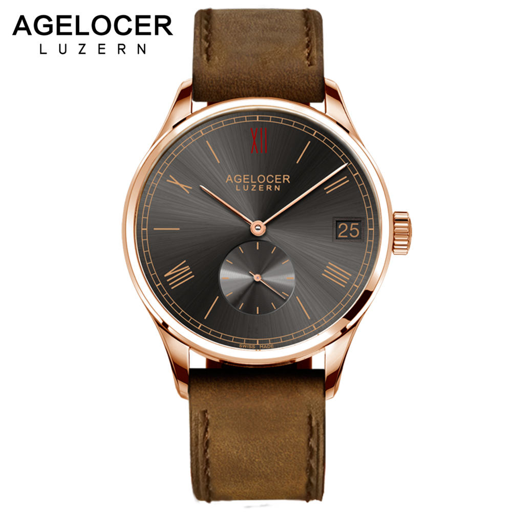 Luxury AGELOCER Wristwatch Brand Mechanical role Watch Gold plated Self-Winding Military Fossiler Automatic Auto Date Watch Men original binger mans automatic mechanical wrist watch date display watch self wind steel with gold wheel watches new luxury