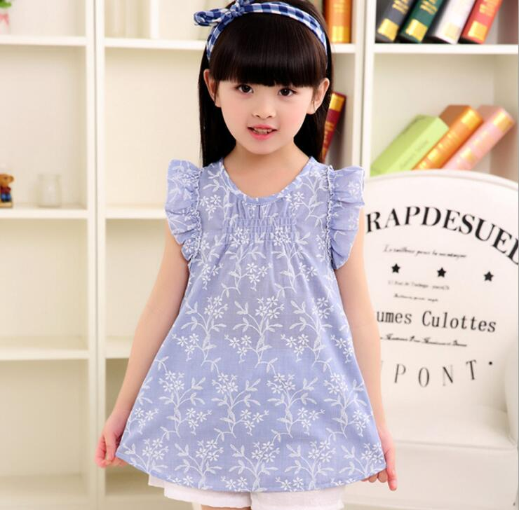2017 Summer Dress Fresh Girls Children's Clothing Gift Printed Girls Clothes flower Princess Party Kids Dress