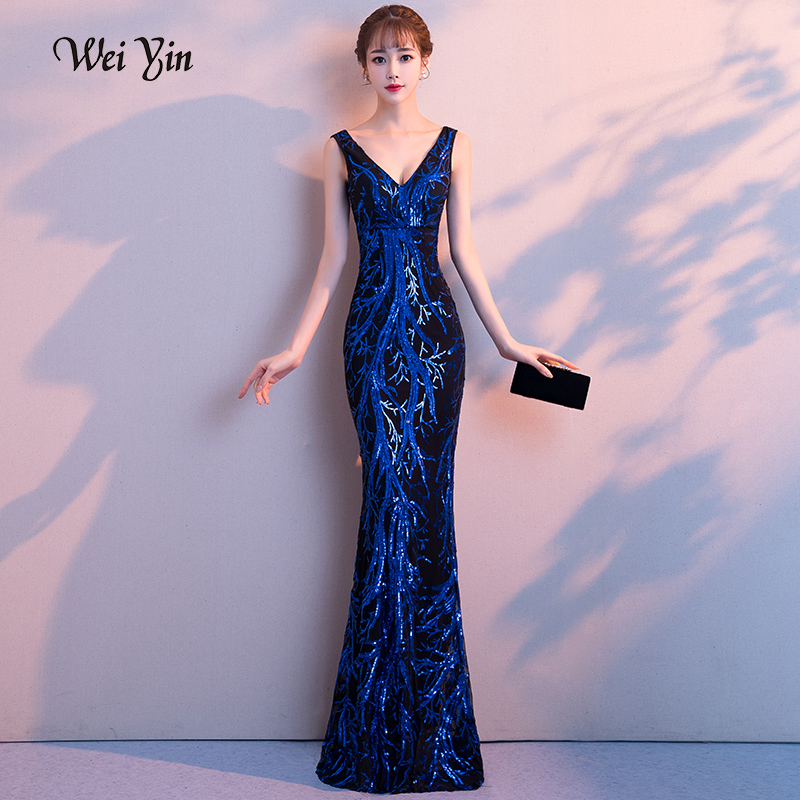 weiyin 2019 New Double-V Long   Evening     Dress   Robe De Soiree Sexy Backless Luxury Blue Sequin Formal Party   Dress   Prom Gowns