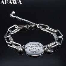Aomos-Colgante de pulsera de acero inoxidable para mujer, cadena de Color plateado, joyería femenina, B1827S01