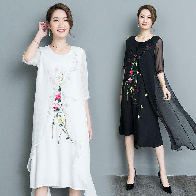Шифон dress две пьесы вышивка старинные платья лето 2017 белый черный длинный халат vestidos плюс размер длинные maxi dress