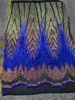 French Net Lace Fabric 2018 Luxury royal blue African Lace Fabric with Embroidery Mesh Tulle Sequins Lace Fabric