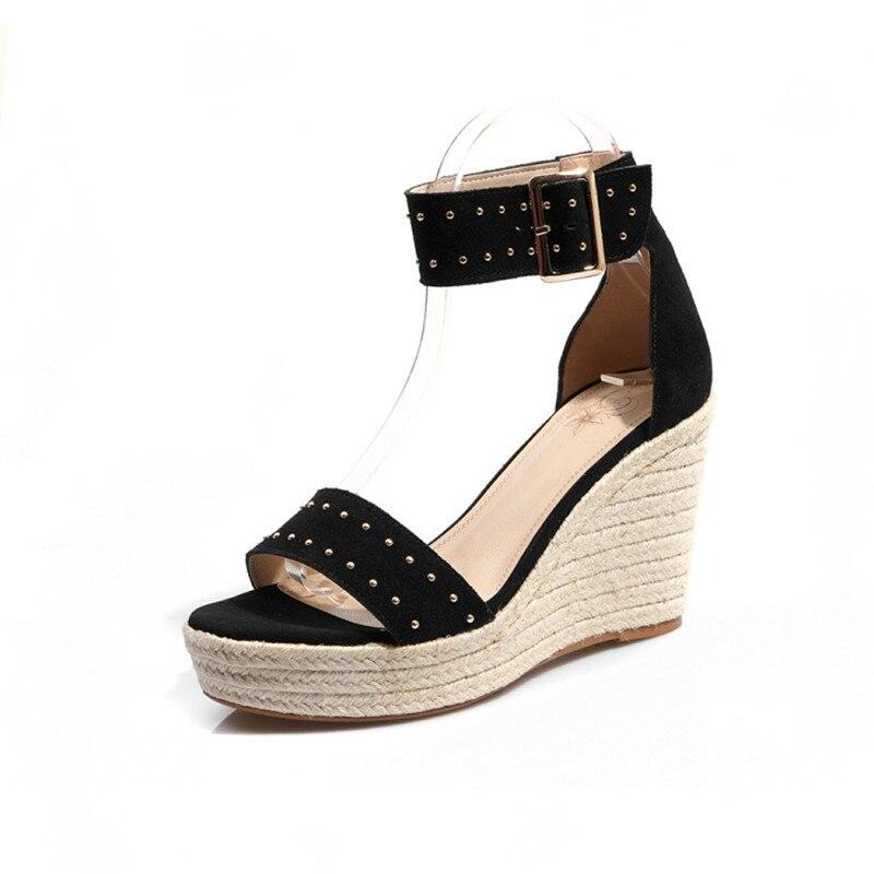 العلامة التجارية الجديدة من جلد الغزال أسافين أحذية النساء الصنادل الكاحل حزام صنادل أرضية حذاء نسائي بكعب عالٍ مريحة الصيف الصنادل للنساء-في كعب عالي من أحذية على  مجموعة 3