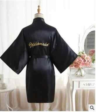 シルクサテンのウェディング花嫁介添人ローブ固体バスローブ半袖着物ローブナイトローブバスローブファッションドレッシングウォメのための