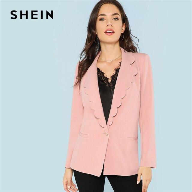 17711c12fd390 SHEIN Pink Office Lady Elegant Scallop Trim Button Pocket Notched Solid  Blazer 2018 Autumn Minimalist Women