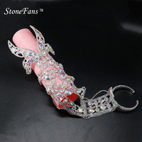 StoneFans Metal Wide Cuff Bracelets For Women Crystals Fashion Lover's Rhinestones Colored Wedding Bracelets Bangles For Women