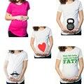 Maternidade grávida Camisetas Shorts Casual Clothes Gravidez Engraçado Para Mulheres Grávidas Marternity Roupas de Algodão Verão 2016