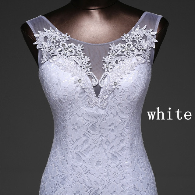 Hot sale free shipping Elegant beautiful lace flowers mermaid Wedding Dresses vestidos de noiva robe de mariage bridal dress 3
